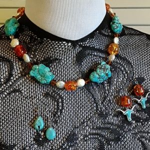 Tourquise Necklace and Longhorn Earrings Set